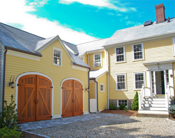 88. Elliptical Classic Z Brace Carriage Doors (CL14-E), Dutch Classic Z Brace Entry, and Craftsman Traditional Entry Door (ECTL04) in Manchester, MA