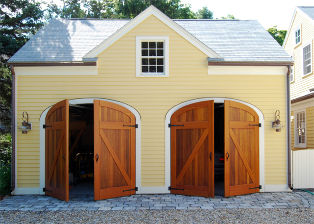 89. Elliptical Classic Z Brace Carriage Doors (CL14-E), Dutch Classic Z Brace Entry, and Craftsman Traditional Entry Door (ECTL04) in Manchester, MA