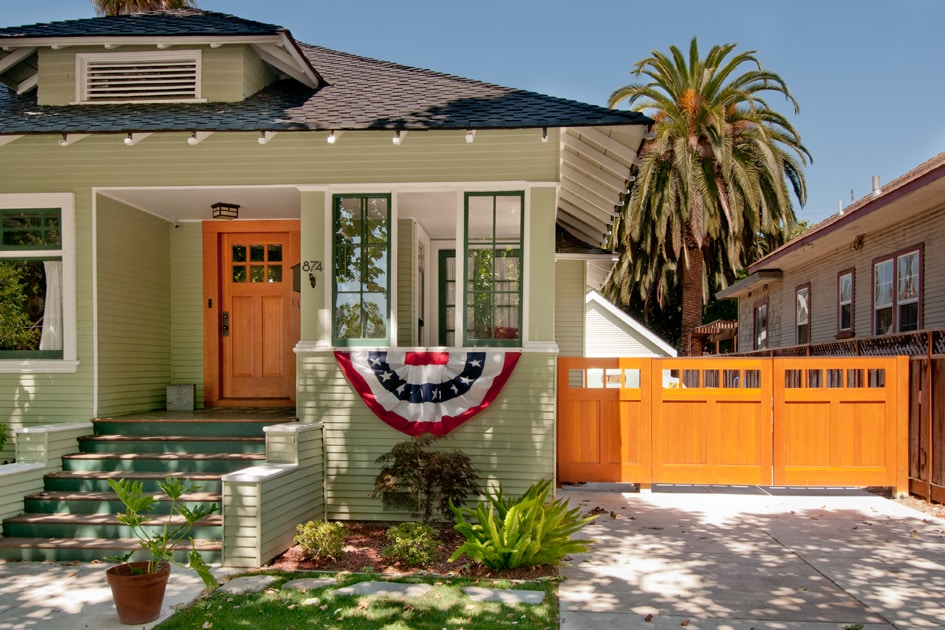 22. Craftsman Style Entry Door and Solid Wood Gate in San Jose, CA