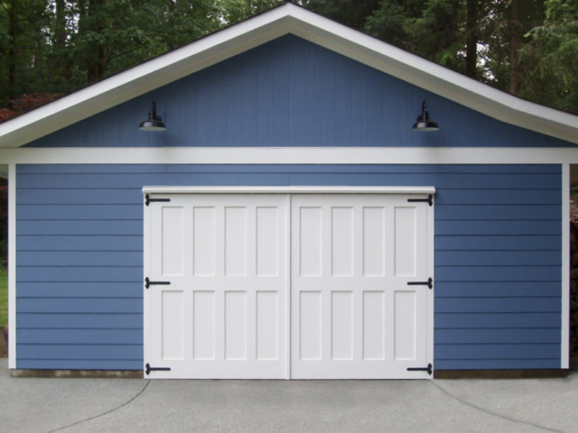 116. White Custom Carriage Doors on a Detached Garage