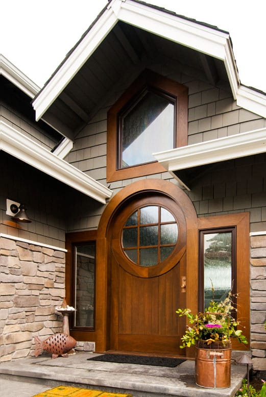 18. Custom Walnut Wood Entry Door with Semi-Circle Arched Top in Gig Harbor, WA