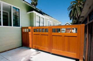 30. Craftsman Style Entry Door and Solid Wood Gate in San Jose, CA