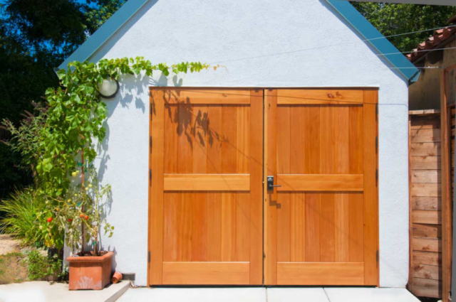21. Classic Carriage Doors and Plank Entry Door in Palo Alto, CA