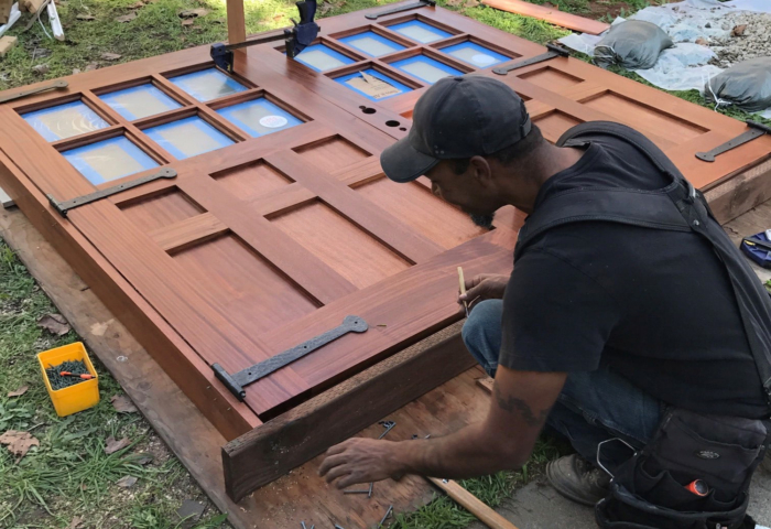 123. Custom design – Sapele Mahogany with frosted glass; prepping for installation