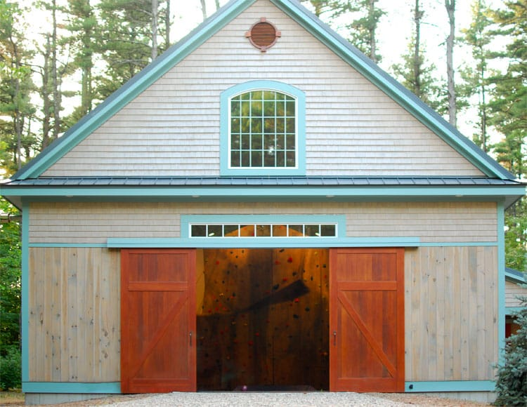 12. Sliding Barn Doors (CL14) on a Home Gymnasium with Climbing Wall in Lancaster, MA