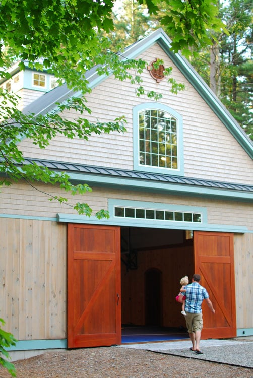 15. Sliding Barn Doors (CL14) on a Home Gymnasium with Climbing Wall in Lancaster, MA