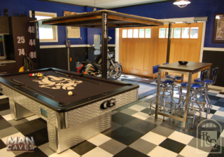"""47. Outswing Carriage Doors (CTLCU) featured on """"Man Caves"""". Charlotte, NC"""