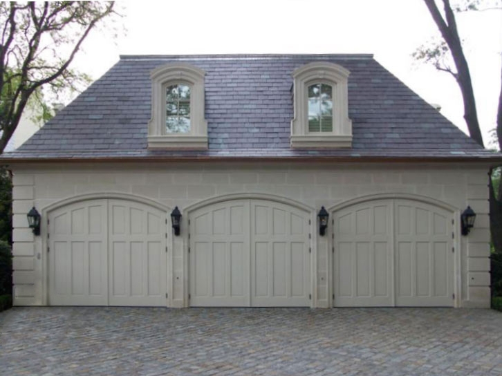 65. CTL14-A Design – Arch top, (3) vertical raised panels, painted, w/ butt hinges; Hurst, TX