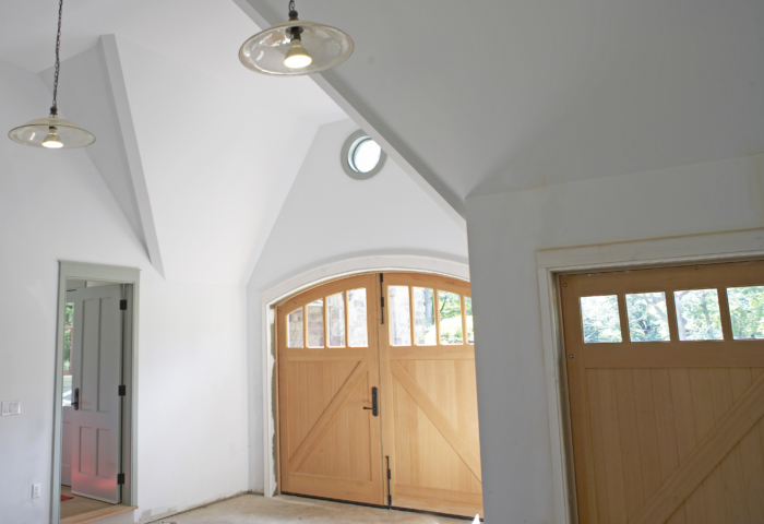 36. Custom Design – Interior view: Arch AND Square top, (1x4) lites, Z brace w/ tongue + groove, and half surface strap hinges; Tenafly, NJ