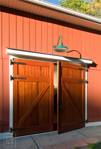 Sapele Mahogany Swing-Out Carriage Doors on a Barn