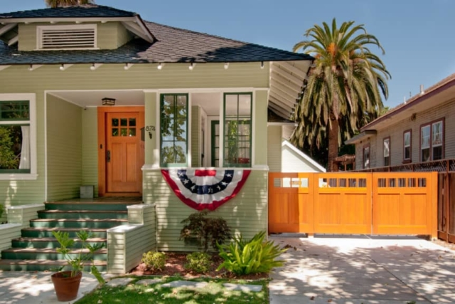 16. Craftsman Style Entry Door and Solid Wood Gate in San Jose, CA