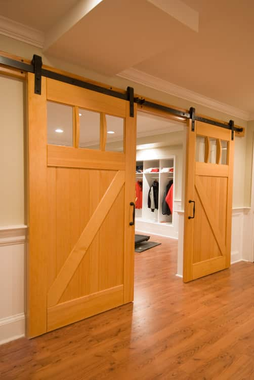 5. Interior Sliding Craftsman Traditional Doors (ECTL01) on a Home Gym in Lutherville, MD