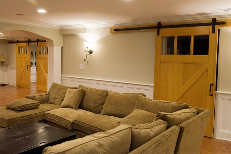 4. Interior Sliding Craftsman Traditional Doors (ECTL01) on a Home Gym in Lutherville, MD