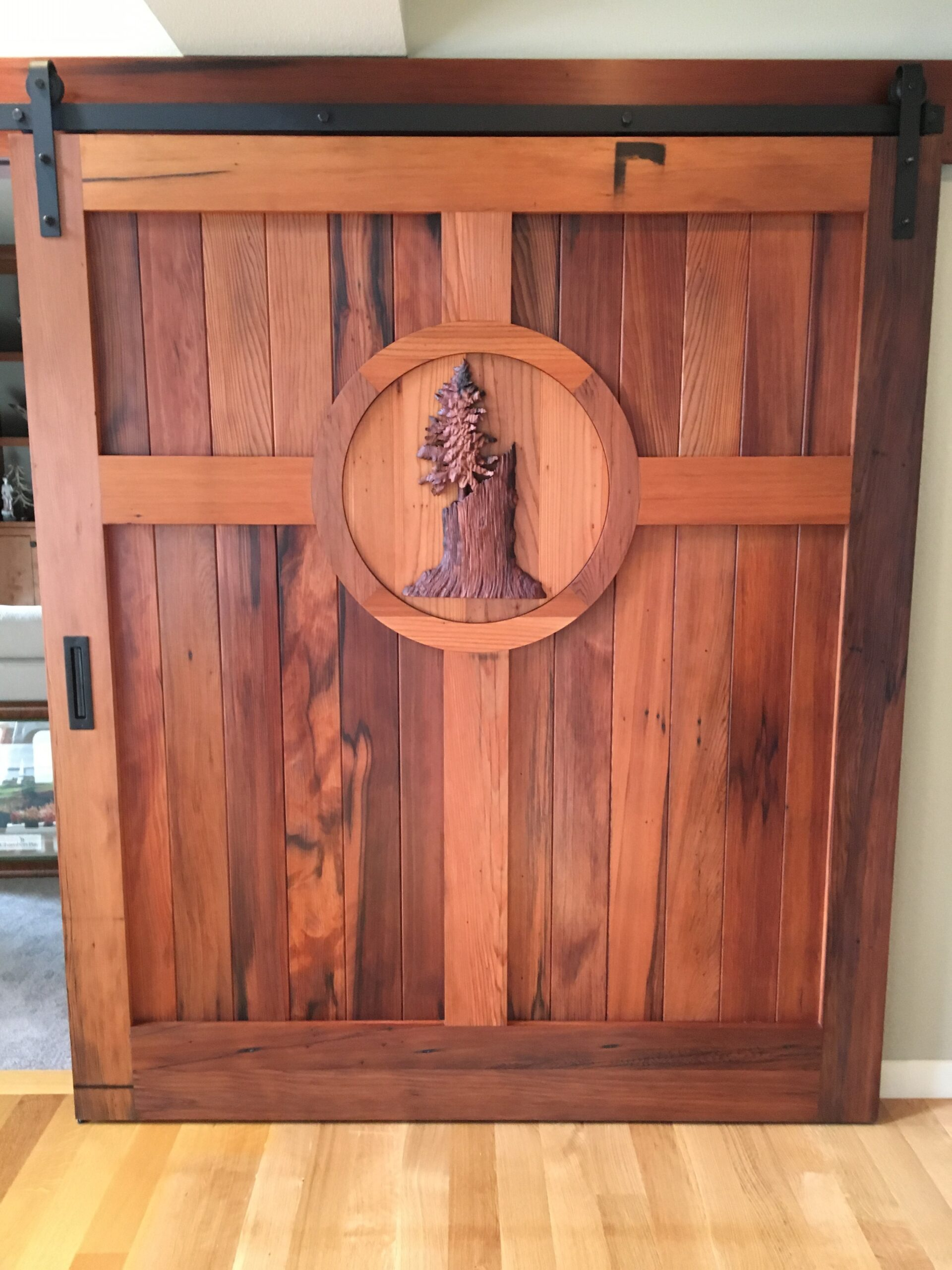 5. A Custom Reclaimed Redwood Sliding Door