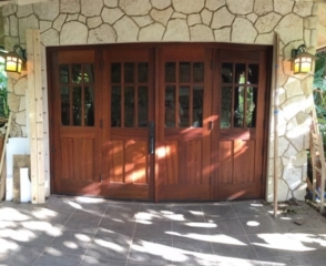 2. SL05G design – Four panel folding doors in Sapele Mahogany; New Jersey