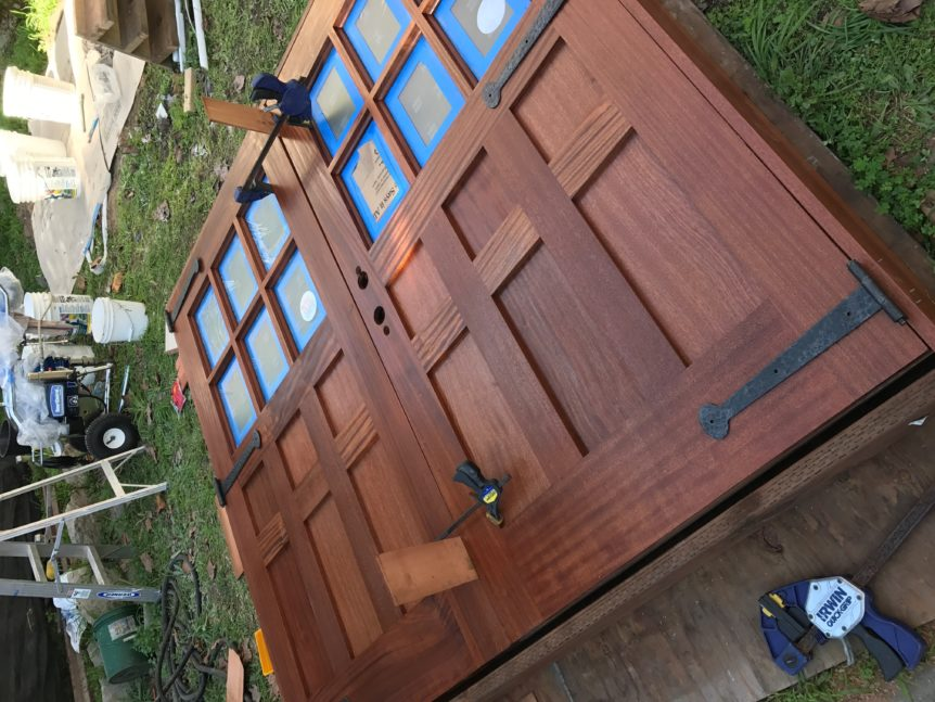 121. Custom design – Sapele Mahogany with frosted glass; prepping for installation
