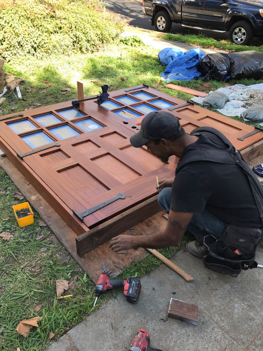 119. Custom design – Sapele Mahogany with frosted glass; prepping for installation