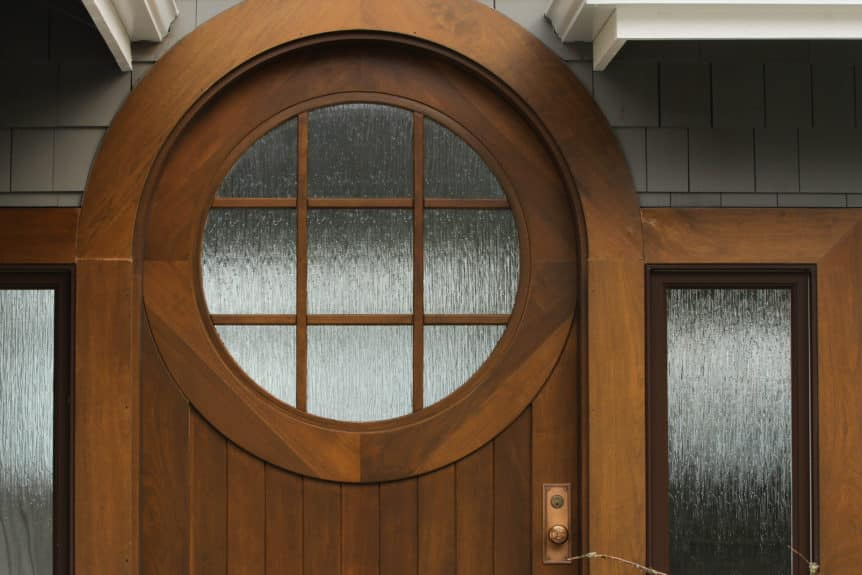 2. Custom Walnut Wood Entry Door with Semi-Circle Arched Top in Gig Harbor, WA
