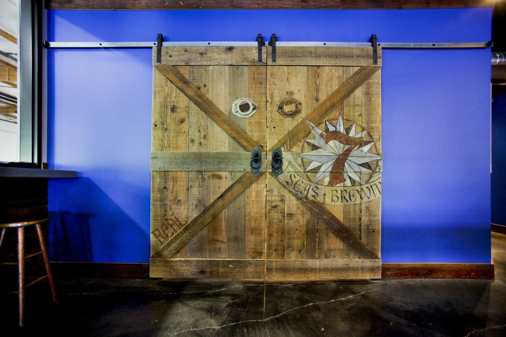 2. Sliding Barn Doors in the 7 Seas Brewing Taproom in Gig Harbor, WA