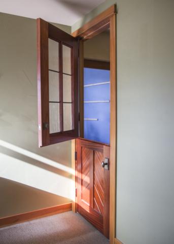 45. 'The Cardinal' Dutch Entry door – Paduak wood w/ Mountain Chevron panel + Seedy Reamy leaded glass – White Medium Bronze Dutch entry hardware; Gig Harbor, WA