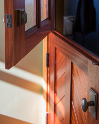 47. 'The Cardinal' Dutch Entry door – Paduak wood w/ Mountain Chevron panel + Seedy Reamy leaded glass – White Medium Bronze Dutch entry hardware; Gig Harbor, W7