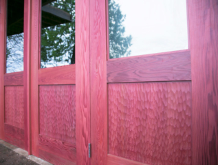 43. Custom Design Outswing Red Wine Redwood w/ scallop panels and Grey lite glass; Gig Harbor, WA