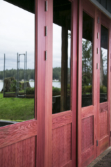 40. Custom Design Outswing Red Wine Redwood w/ scallop panels and Grey lite glass; Gig Harbor, WA