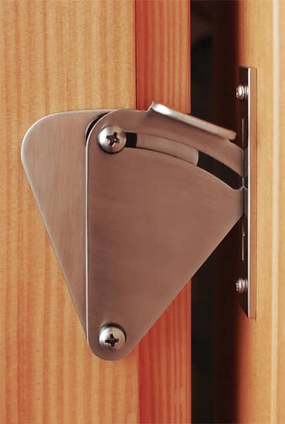 Privacy Teardrop Sliding Door Lock Dimensions: 3u2033 Tall X 2u2033 Wide.  Materials: Stainless Steel Or Aluminum Finish: Brushed Stainless Steel  (Satin Nickel) Or ...