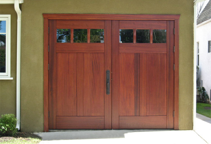 43. CTL01V2 Design – Square top, (1x3) lites, (2) vertical flat panels, Sapele Mahogany, w/ butt hinges; Burbank, CA