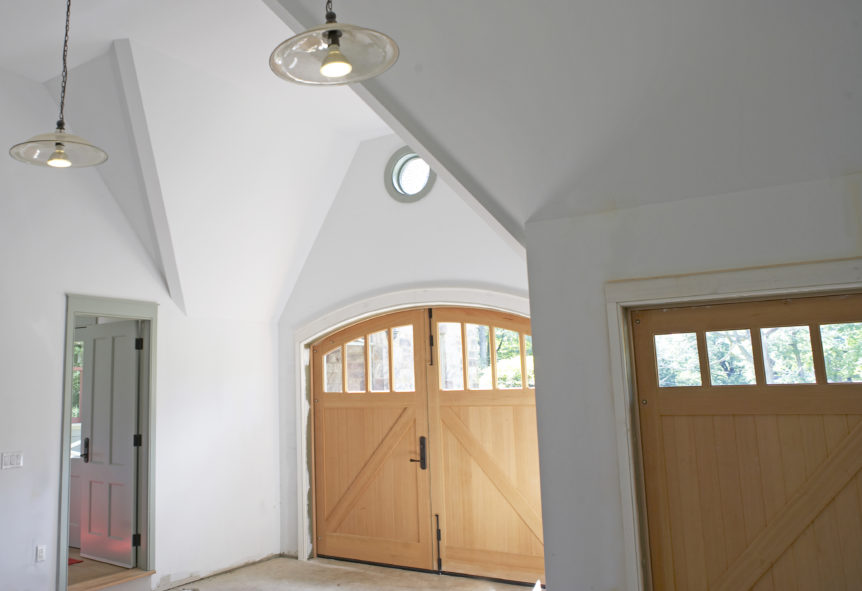 34. Custom Design – Interior view: Arch AND Square top, (1x4) lites, Z brace w/ tongue + groove, and half surface strap hinges; Tenafly, NJ