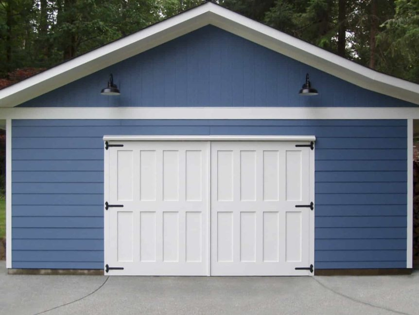 104. White Custom Carriage Doors on a Detached Garage
