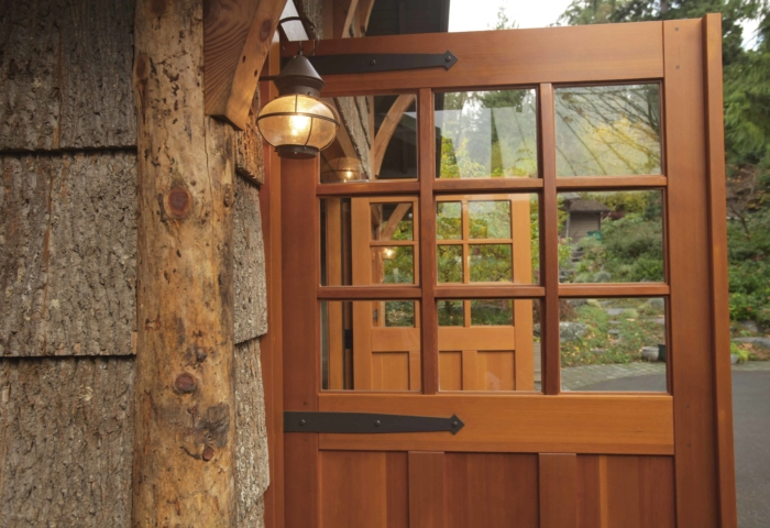 9. SL07 Design – Square top, (3x3) lites, (3) vertical flat panels, Vertical grain Douglas Fir, Diamond tip half surface strap hinges, and curved mullions