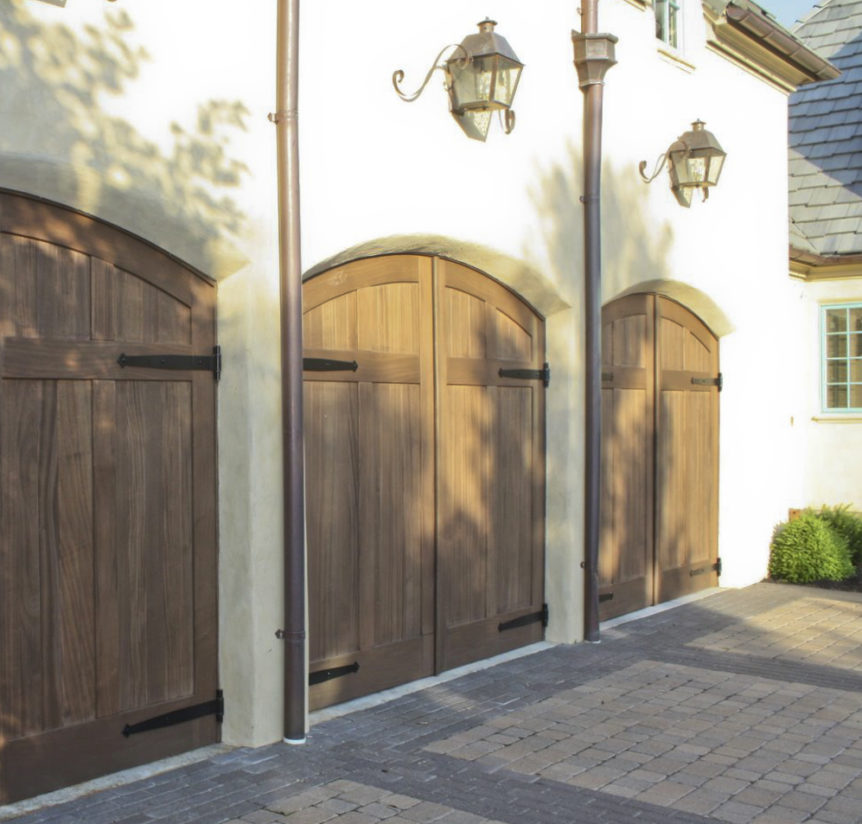 28.  CL15HV2-A Design – Arch top, (2) vertical tongue + groove panels, Sapele Mahogany, w/ half surface Diamond tip strap hinges; Kansas City, MO