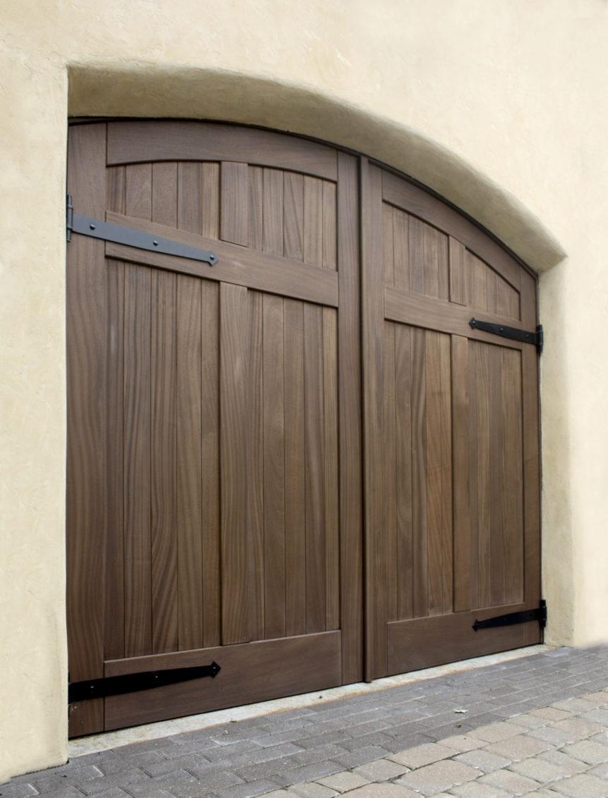 29.  CL15HV2-A Design – Arch top, (2) vertical tongue + groove panels, Sapele Mahogany, w/ half surface Diamond tip strap hinges; Kansas City, MO