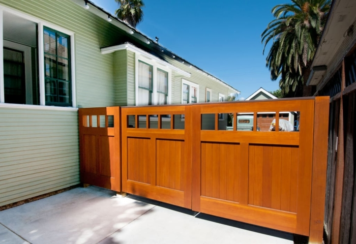 25.  CSTM Design – Square entrance gate, (1x5) openings, (2) vertical tongue + groove panels, Vertical grain Douglas Fir, w/ butt hinges; San Jose, CA