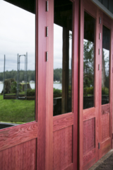 7. Custom Design Folding Red Wine Redwood w/ scallop panels and Grey lite glass; Gig Harbor, WA