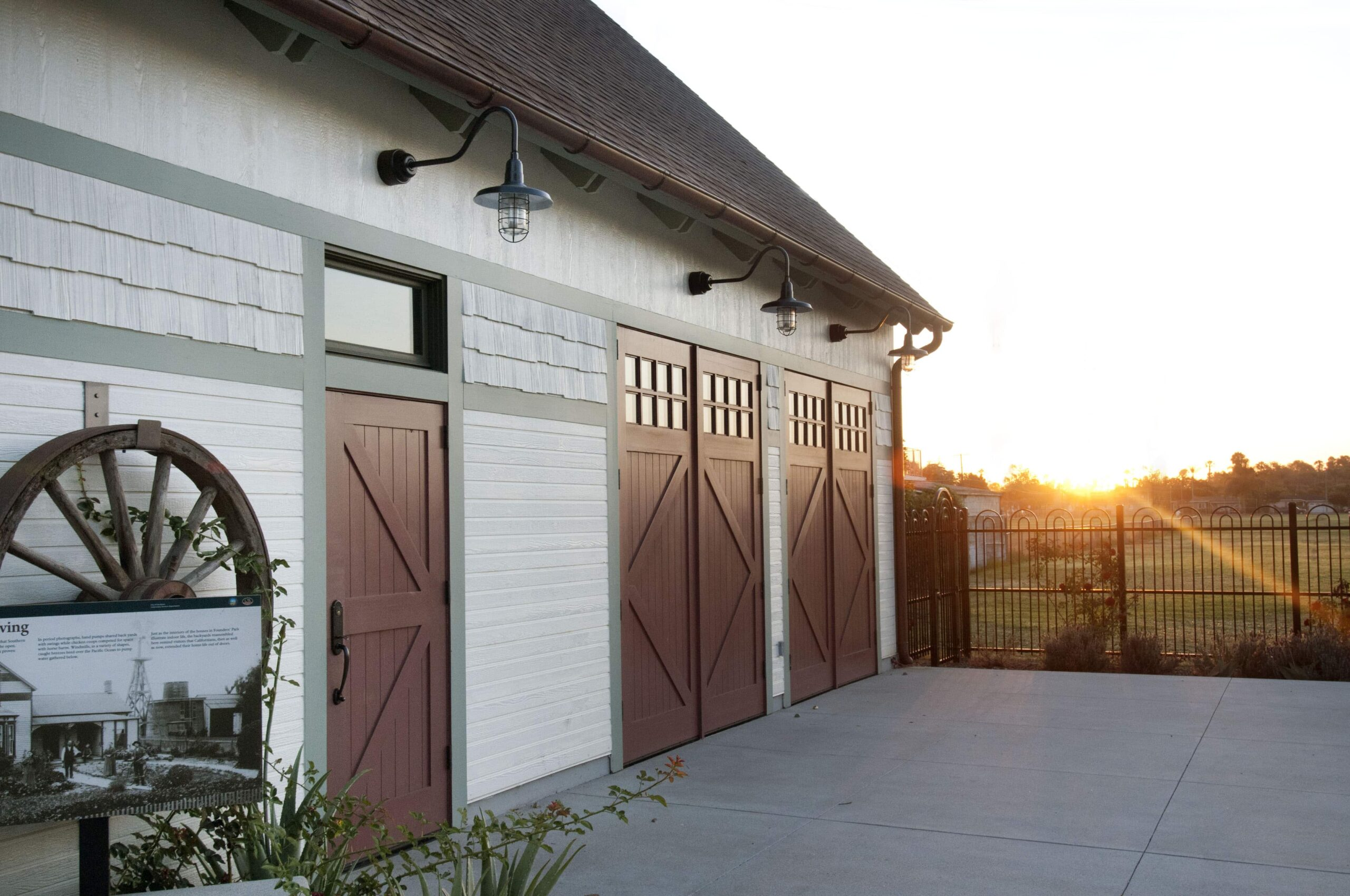 4. ECL15B Design – Square top entry door w/ transom: Classic British X brace w/ tongue + groove panels (no lites), painted, w/ butt hinges & Custom Design – Square top, (2x4) lites, Diamond brace w/ tongue + groove panels, painted, w/ butt hinges; Founder's Park - Anaheim, CA